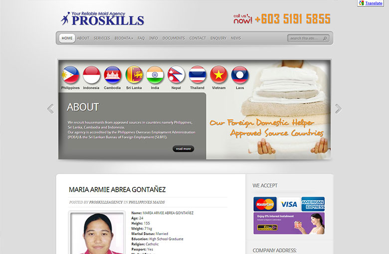Website Design For Malaysia Proskills Maid Agency